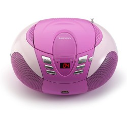 Lenco SCD - 37 Radio portatile AM /FM con lettore CD / MP3, antenna telescopica , USB, Rosa