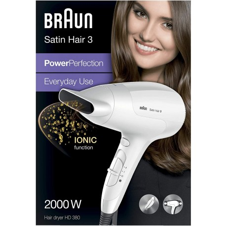 Braun Satin Hair 3 PowerPerfection Asciugacapelli HD380, agli Ioni, Potente, Leggero.